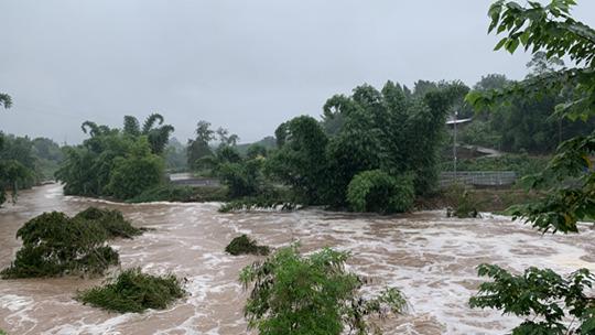 四川内江遭遇大暴雨 河水暴涨房倒桥塌