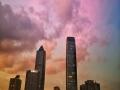 贵阳市区上空惊现美丽彩霞 红透天边