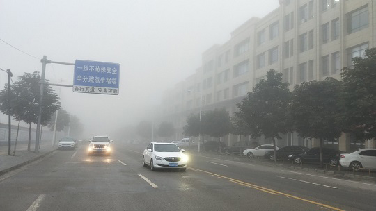 甘肃庆阳大雾锁城 高楼隐匿车速缓慢