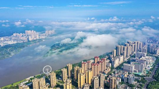 四川遂宁薄雾笼罩 城市如披轻纱