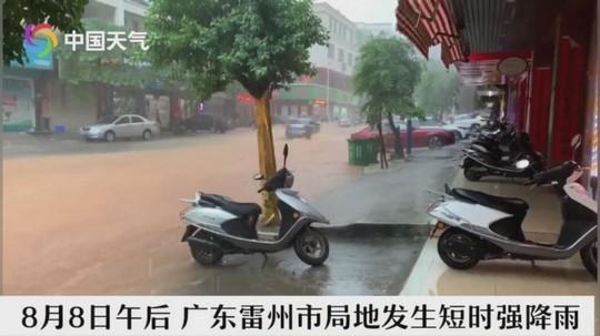 广东雷州遇强降雨 道路被淹