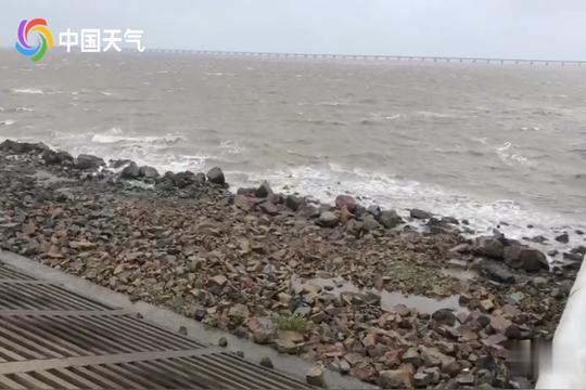 """受""""利奇马""""外围环流影响 南通通州湾风雨增强"""
