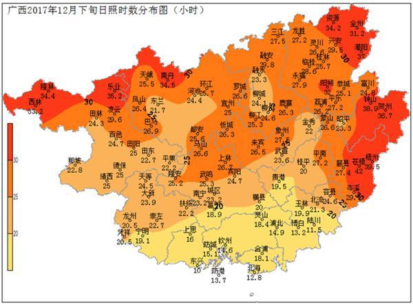 广西2017年12月份农业气象(旬)月报