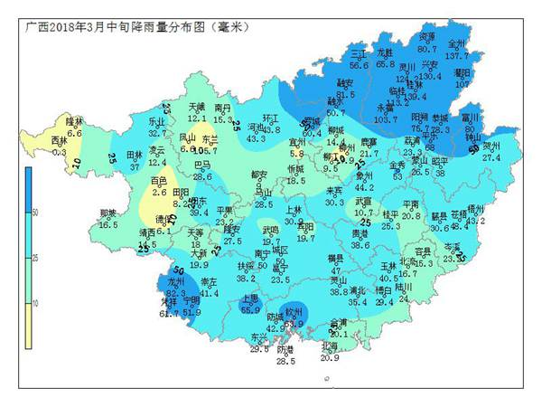 广西2018年3月中旬农业气象旬报