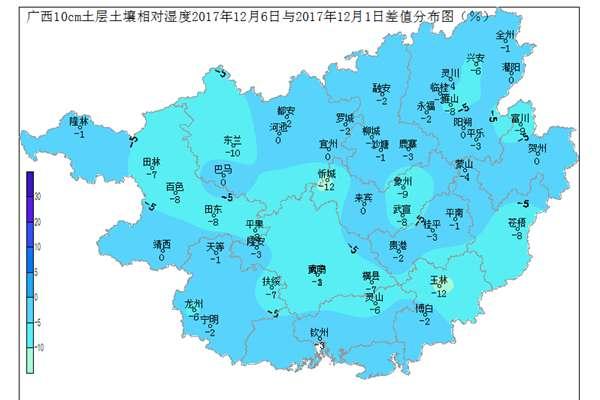 广西壮族自治区2017年12月6日土壤水分监测预测公报
