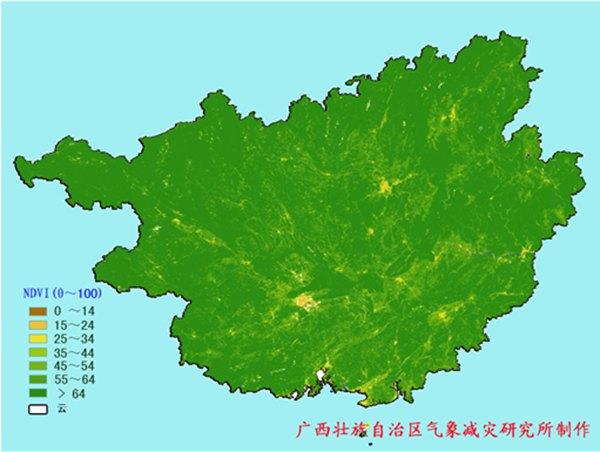 2016年7月下旬广西植被指数分布特征