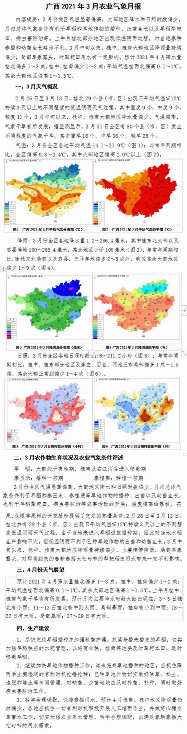 广西2021年3月农业气象月报
