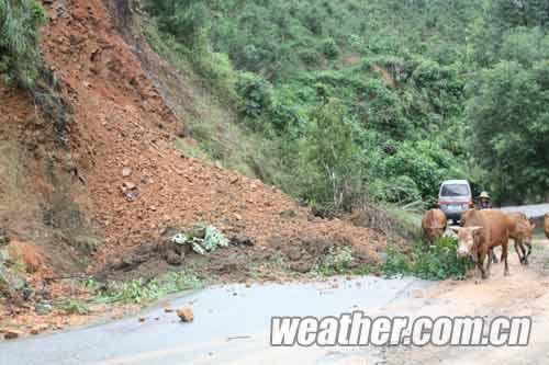巴马县所略乡沿路塌方
