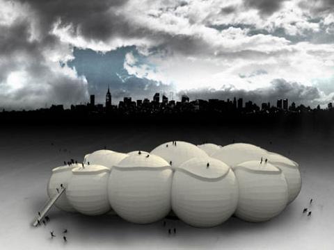 美建筑师构想空中载人浮云解决城市交通
