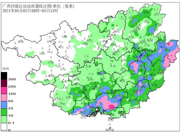 5月3到5日我区有较强降雨过程