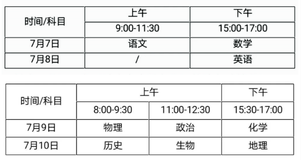海南省2020年普通高考考试科目时间安排
