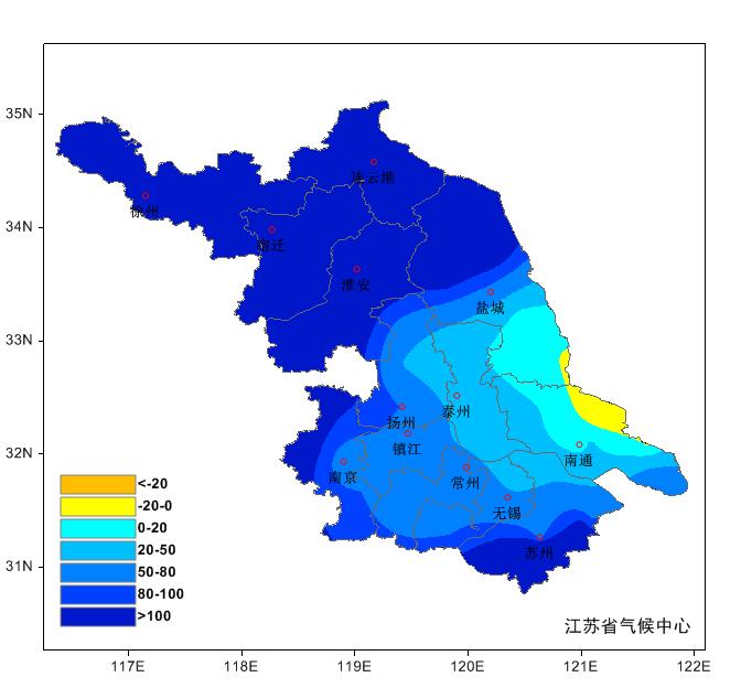 江苏省2020年1月气候概况