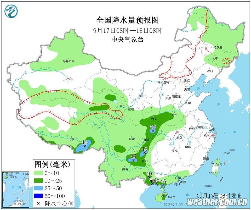明天滇中及以东以南、滇西北东部、滇西南有阵雨局部中雨