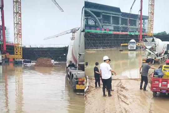 甘肃庆阳:强降水致高铁站施工受阻