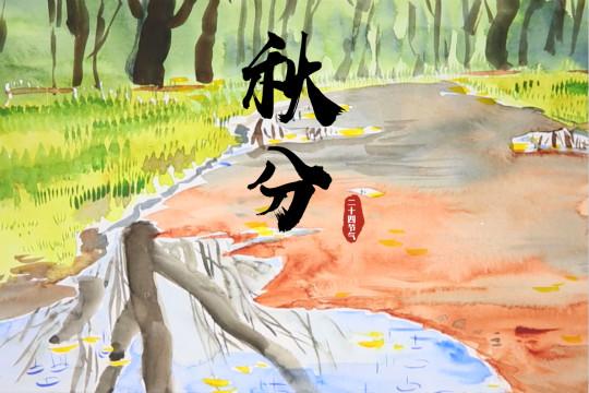 手绘节气秋分:昼夜平分 菊香蟹肥